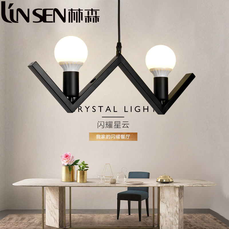 Korean creative personality restaurant bar lamp chandelier modern minimalist clothing store complex ancient 2 head of small decorative chandelier