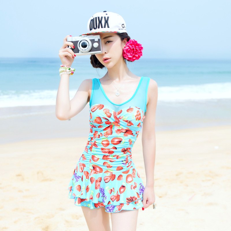 9fc33b5a7f806 Get Quotations · Korean fashion 2016 new cover was thin belly piece  swimsuit skirt style hot spring swimsuit small
