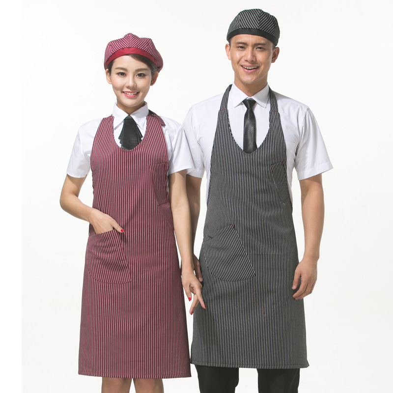 Korean fashion halter kitchen aprons apron supermarket tea shop cafe restaurant waiter striped apron