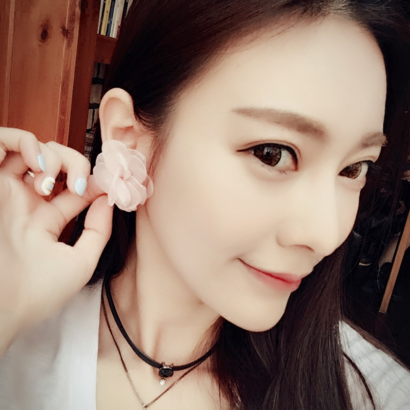 Korean fashion new lace wild flowers sweet temperament simple earrings ear jewelry female personality accessories