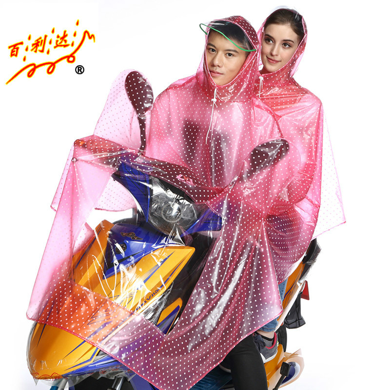 Korean fashion transparent double crystal bailida couple new large electric vehicle motorcycle raincoat poncho raincoat