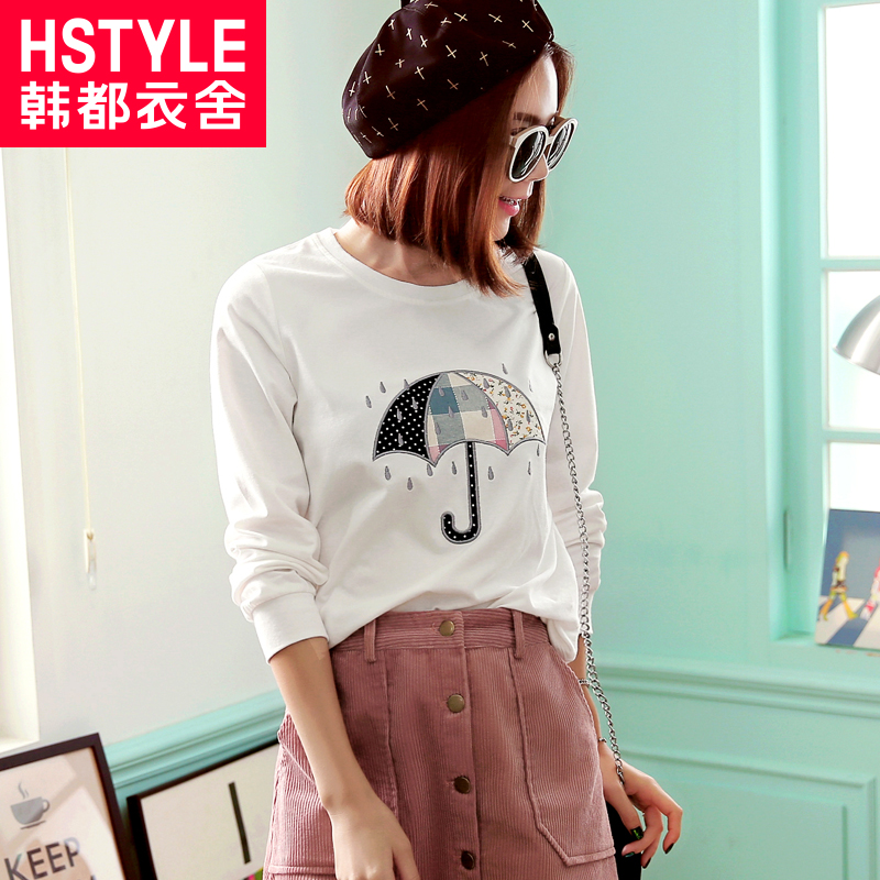 Korean homes have clothes 2016 korean version of the fall of the new women's wild leisure was thin loose t-shirt korean fan student tops