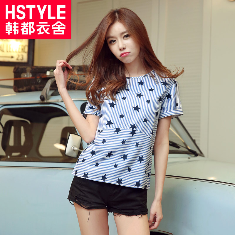 Korean homes have clothes 2016 summer new korean fan round neck short sleeve t-shirt female loose thin stripe star printing Korean version of the