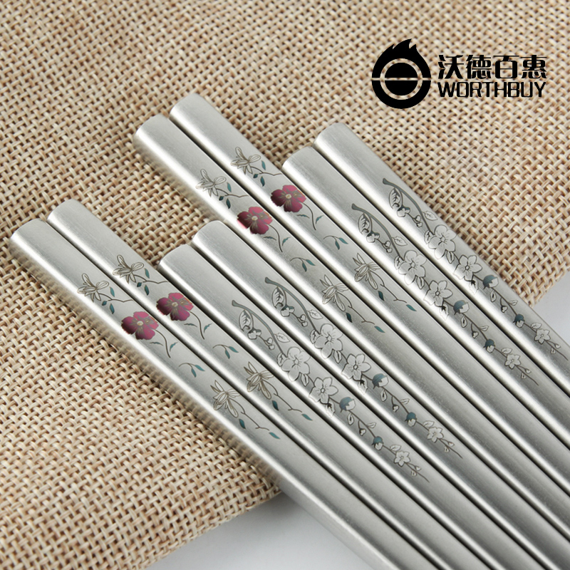 Korean plum safflower 304 stainless steel chopsticks chopsticks 10 pairs of chopsticks suit square metal skid alloy ward tupperware