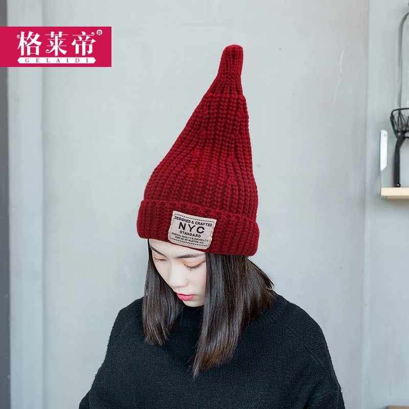 Korean tidal plus thick velvet patch nyc letters paul warm autumn and winter heks pacifier pointy hat wool hat knitted hat ear