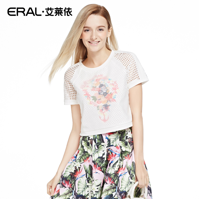 Korean version of islay hedging loose round neck short paragraph 2016 spring new short sleeve t-shirt ERAL31021-EXAB
