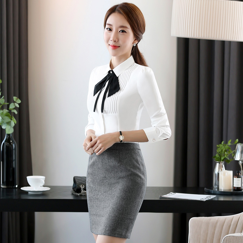 Korean version of slim autumn fashion dresses temperament interview suit business bank reception wine shop white collar shirt dress overalls