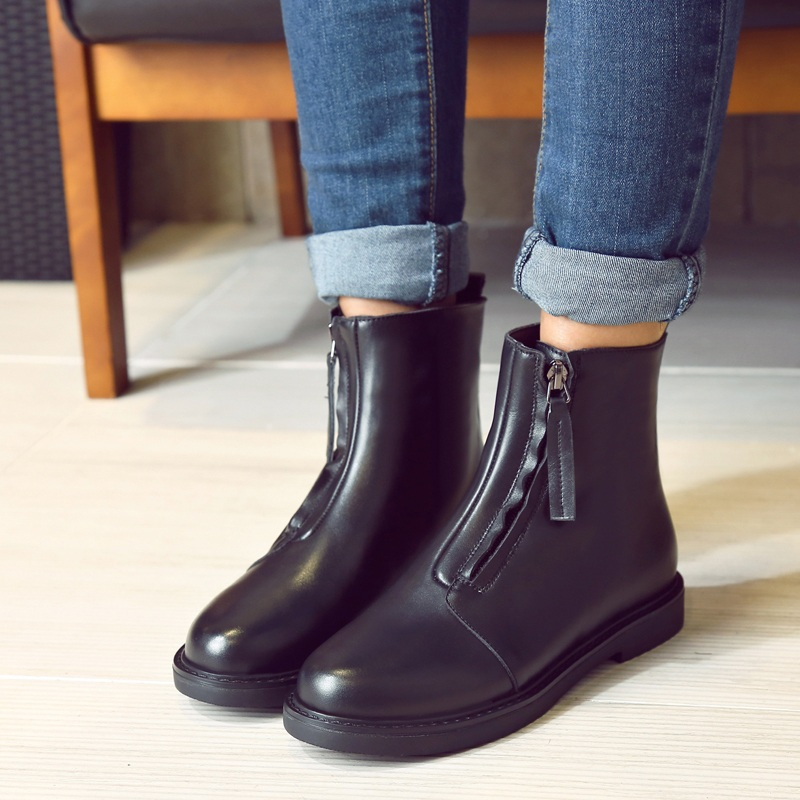 Korean version of the autumn and winter leather boots female boots martin boots female flat with flat boots women boots british lun wind round student shoes