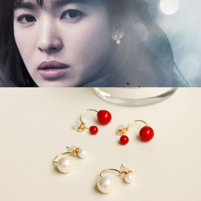 Korean version of the before and after wearing pearl earrings that winter wind blowing in the 925 silver earrings ear rings earrings ear hanging around