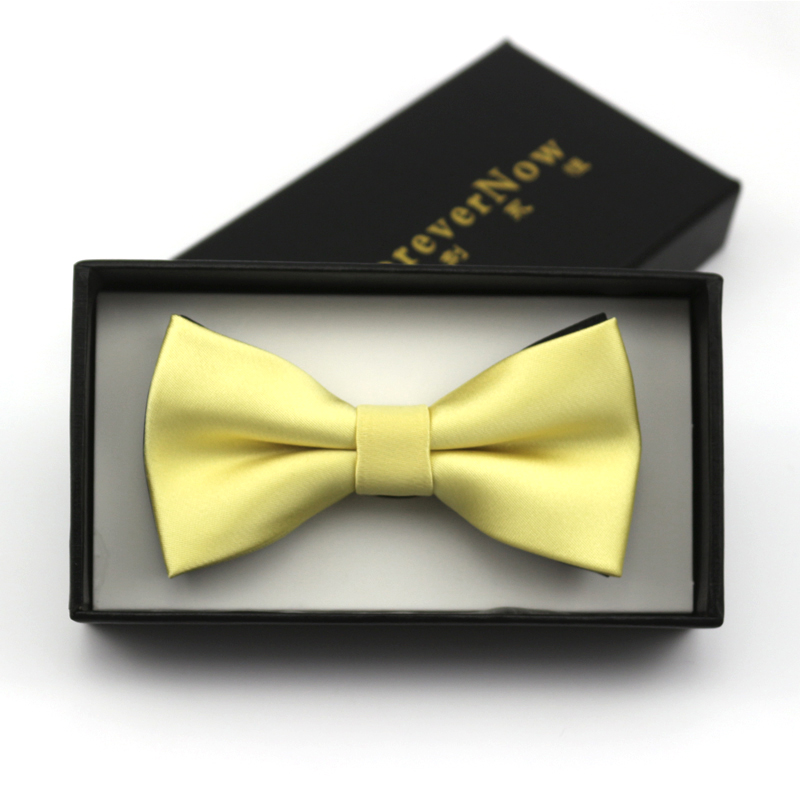 Korean version of the british men's 〖forevernow daughter tong xuesheng light yellow color bow tie groom married small