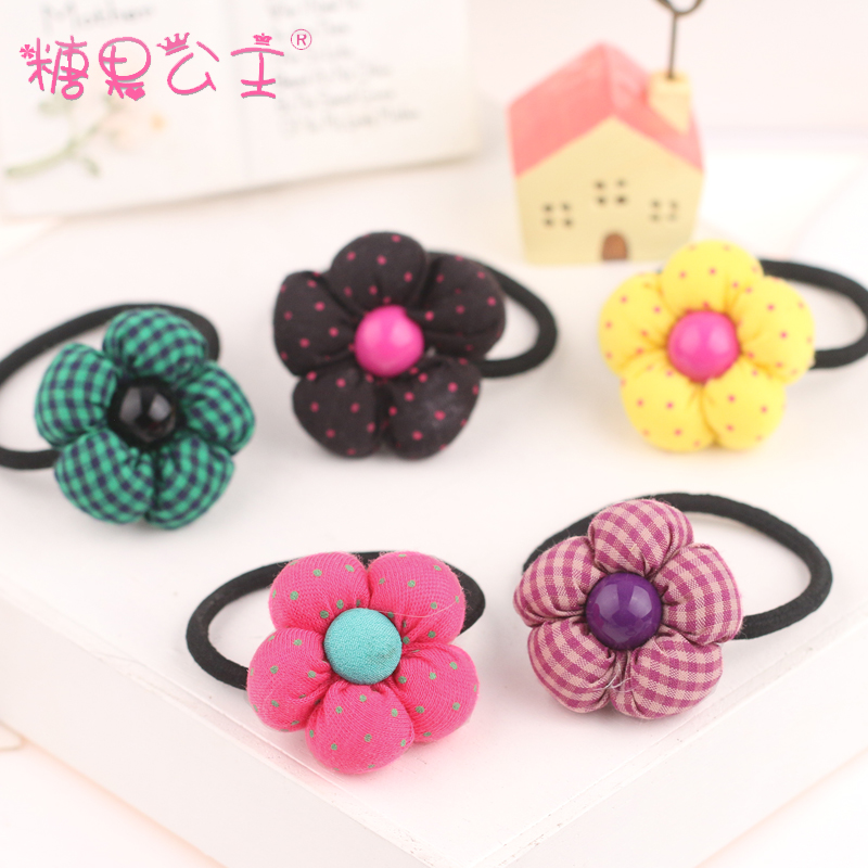 Korean version of the candy princess fabric flower hair band hair accessories head flower headdress lovely sweet polka dot plaid tousheng
