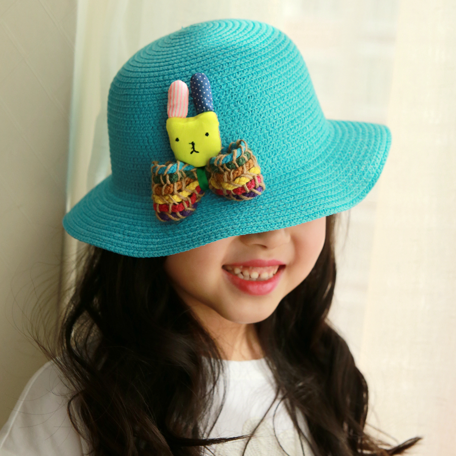 d434e63bd6a Get Quotations · Korean version of the cartoon children s summer hat summer  baby sun shade baby girls sun hat
