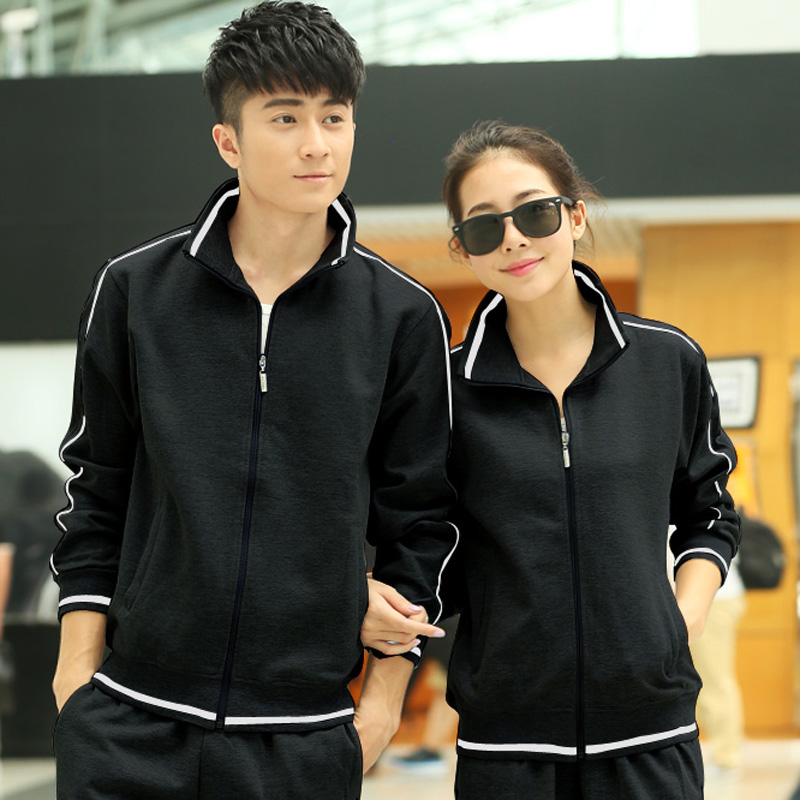 Korean version of the classic fashion sports suit collar cardigan sportswear for men and women spring and autumn lovers sportswear jogging suits women