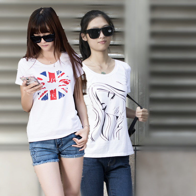Korean version of the consultancy firm booz t-shirt female summer was thin women's summer t-shirt printing slim short sleeve ladies t-shirt loose t