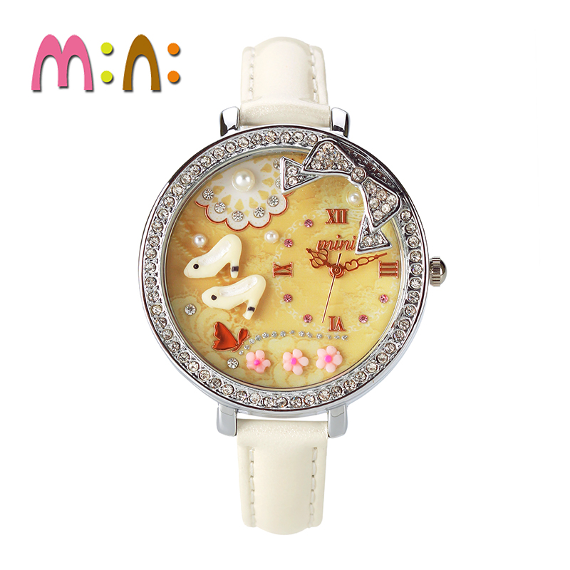 Korean version of the creative fashion rhinestone high heels mini fimo watches are brand born female form girl girls high school students
