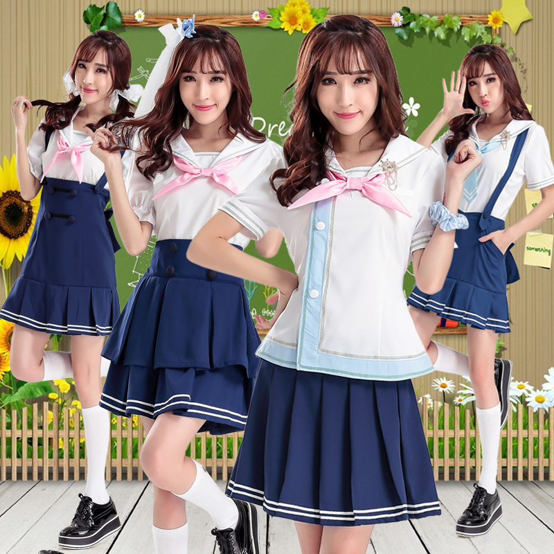 b77b43ff9 Buy Korean version of the cute school uniforms sailor suitå¤ ç clothing  short sleeve dress female students college wind jk uniforms cos in Cheap  Price on ...