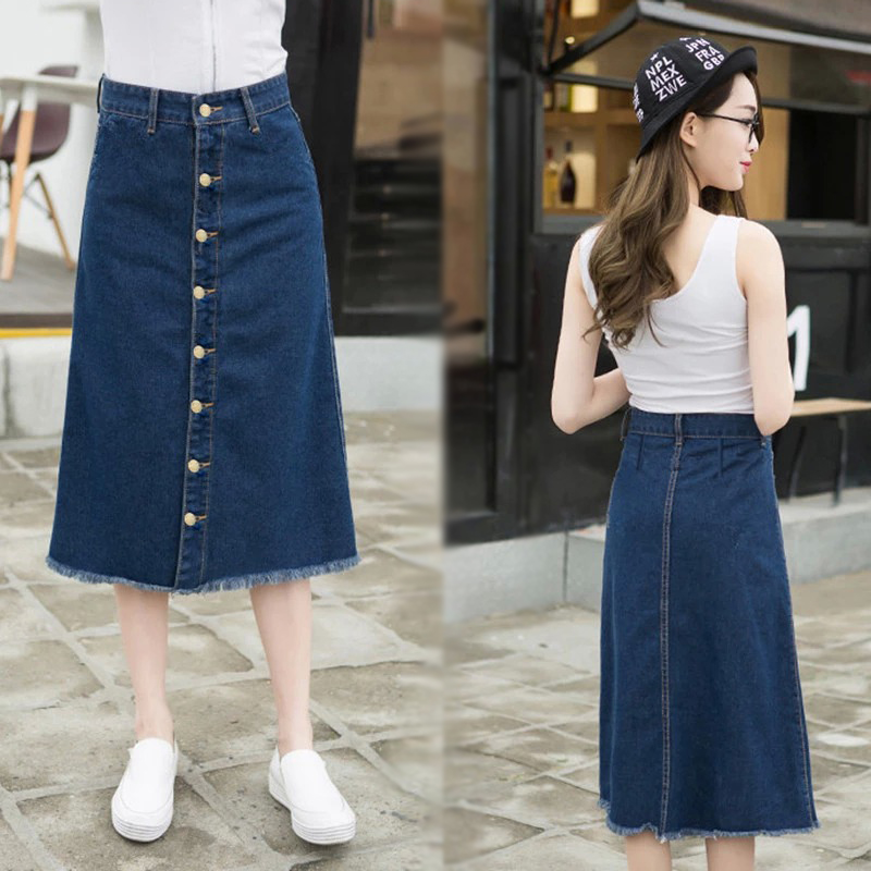 Korean version of the denim skirt and long sections college wind breasted significant lanky waist denim skirts denim skirt