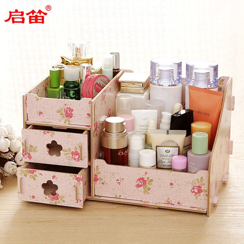 Korean version of the diy desktop remote control storage box wooden drawer cosmetic storage box dressing jewelry storage box