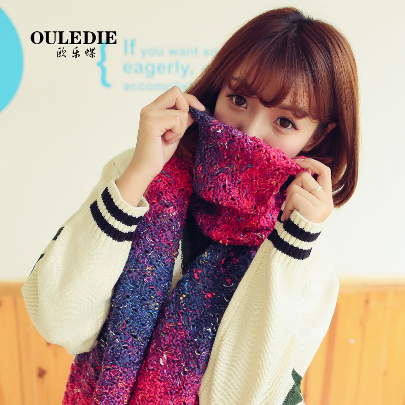 Korean version of the fall and winter days gradient student thick warm scarf knitted wool scarves korean men and women couple models