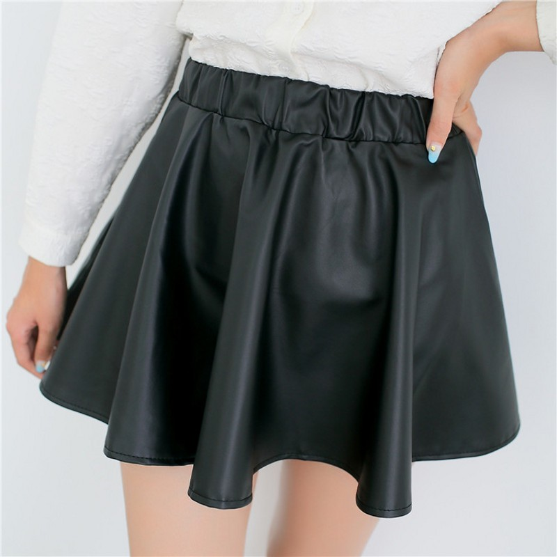 69f50cded Korean version of the fall and winter small leather skirt pleated skirts wild  women pu leather