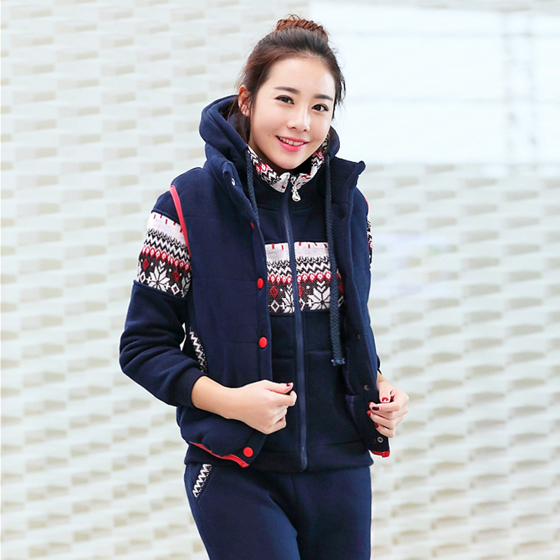 Korean version of the fall and winter women plus velvet three sets of large size small yards fashion leisure sports suit printing couples suite