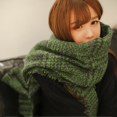 Korean version of the green plaid scarf winter scarf thick warm scarf shawl women scarf scarves korean ms. students
