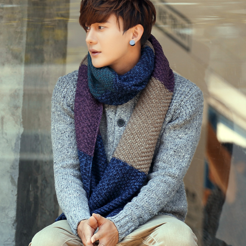 Korean version of the influx of autumn and winter knitted scarf lovers korean men and women couple new warm thick wool scarves