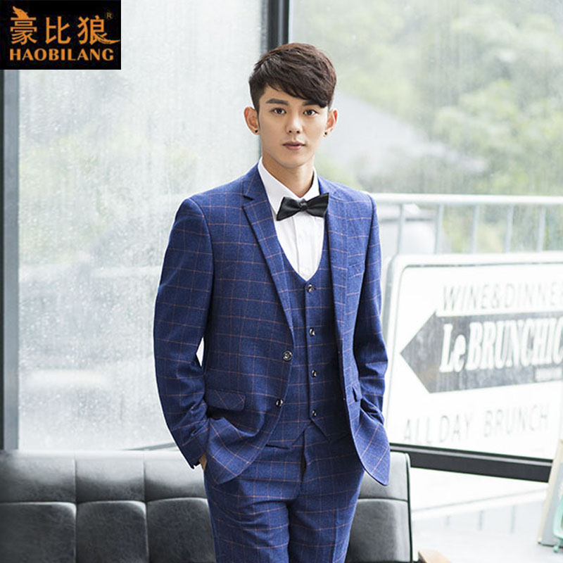 Korean version of the influx of british men's casual suits slim wedding dress and groom gretl son and three sets of small suit