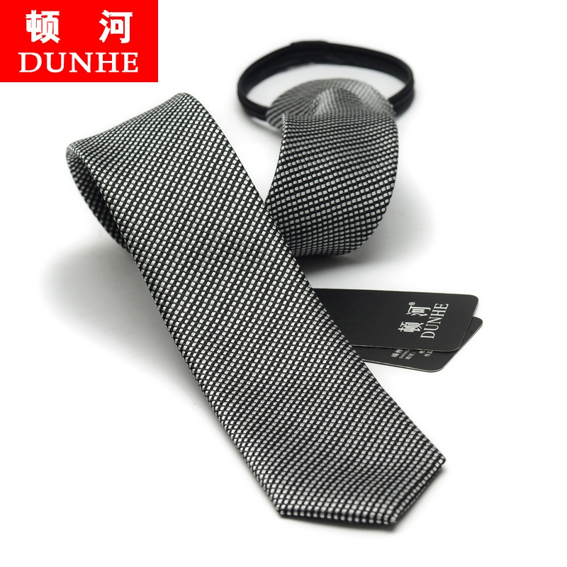 Korean version of the influx of men narrow tie zipper tie easy to pull tie wedding groom fine small black and white tie