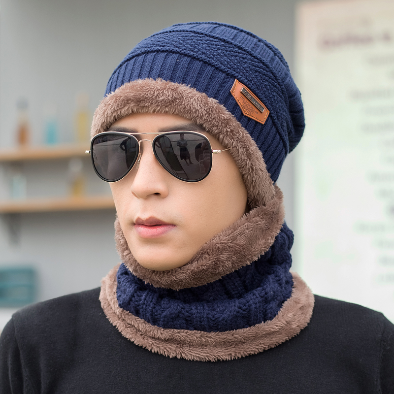 Korean version of the influx of young men hedging hat scarf winter earmuffs warm thick knitted wool cap influx of korean