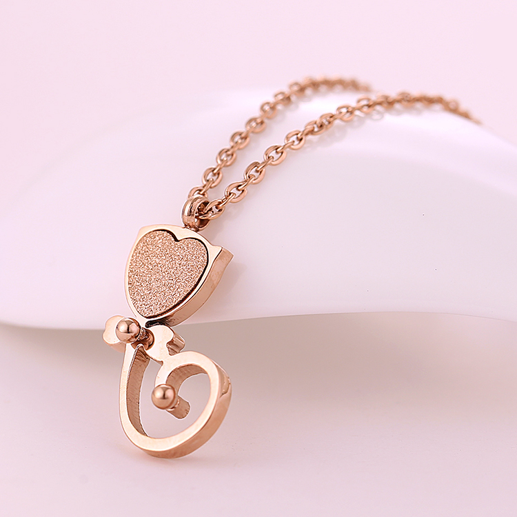 Korean version of the lovely theatrical bow kitten pendant japan and south korea rose gold plated necklace female clavicle chain jewelry gift