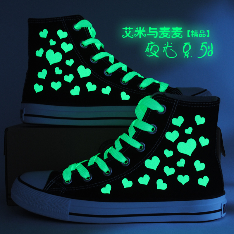 Korean version of the luminous peach heart couple shoes for men and women printed canvas shoes high to help students casual shoes shoes luminous shoes tide