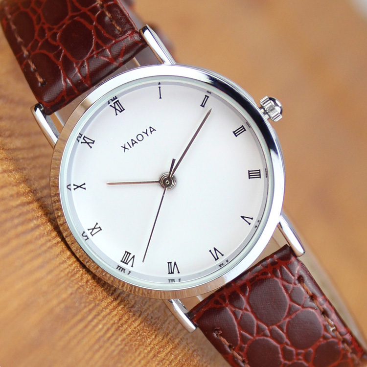 Korean version of the male form female form watches female student fashion trends minimalist retro belt couple watch one pair of white