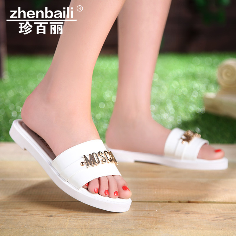 Korean version of the new letters jennifer belle flat sandals female japanese and korean style fashion casual sandals slippers female aesthetic