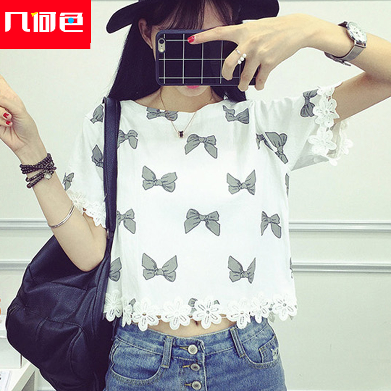 Korean version of the new middle school summer lace stitching short sleeve t-shirt fashion cotton short paragraph coat adolescent girls