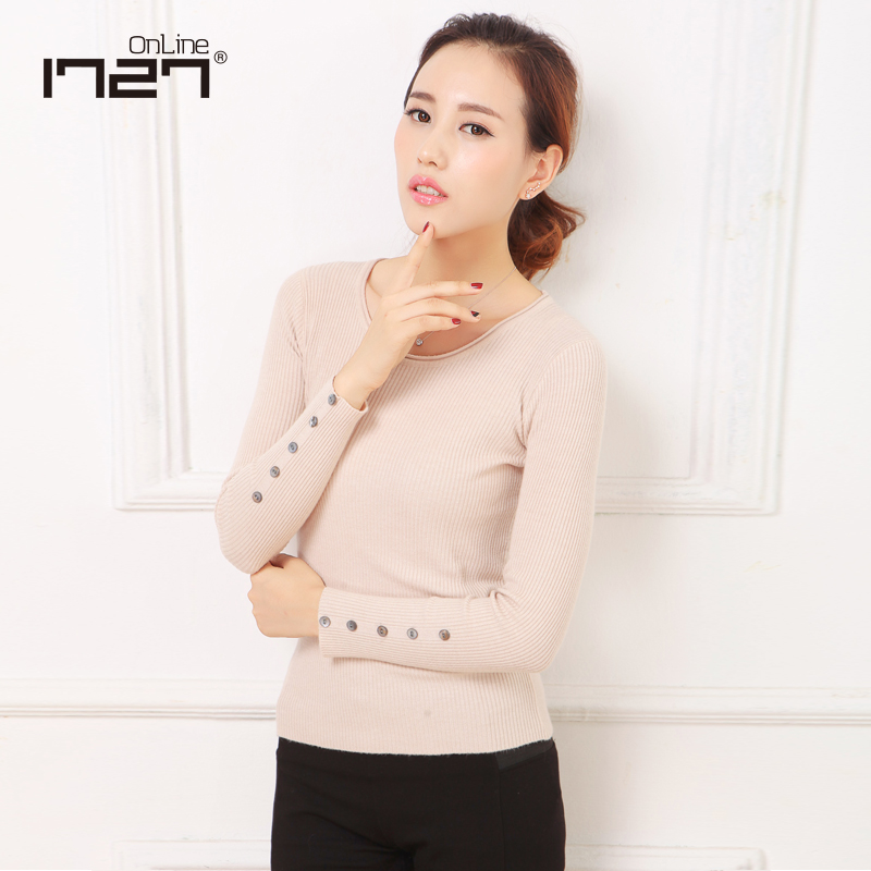 b3a9f9187b Get Quotations · Korean version of the round neck long sleeve turtleneck sweater  bottoming shirt slim wild tight sweaters