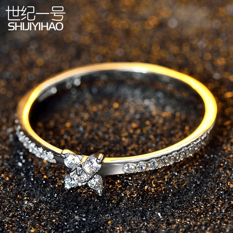 Korean version of the s925 sterling silver rings female simulation flower fashion jewelry ring ring nvjie single ring jewelry lettering birthday gift