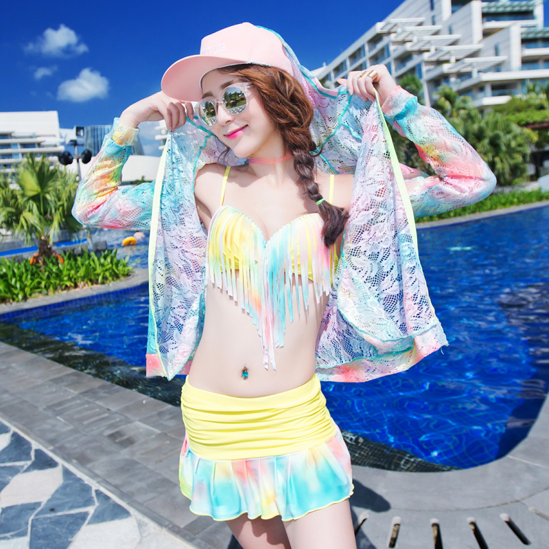 Korean version of the sexy split bikini swimsuit small chest steel prop gather female swimsuit 2016 new swimsuit fashion than the gini