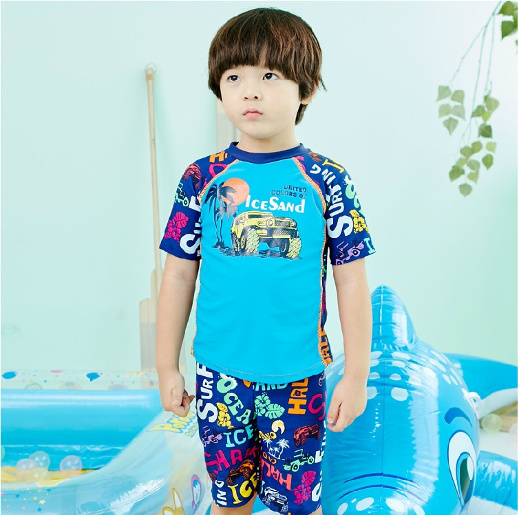 Get Quotations · Korean version of the short sleeve baby boy swimming  trunks swimming trunks boy child swimsuit split 34df3a3c4053