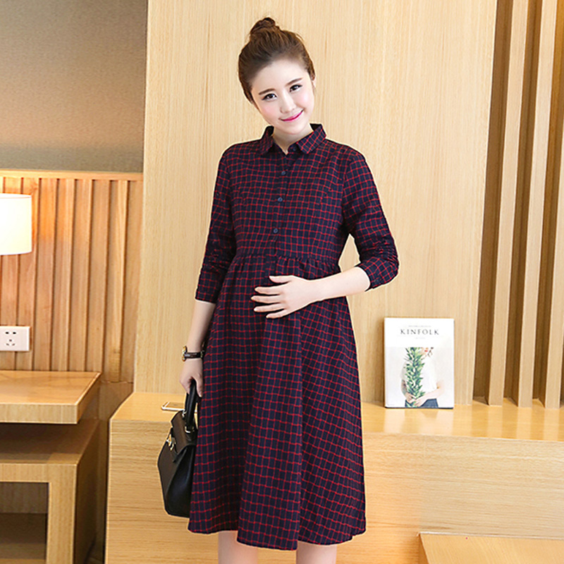 Korean version of the skirt and long sections of pregnant women fall loose shirt autumn influx of pregnant women dress autumn long sleeve dress 2016