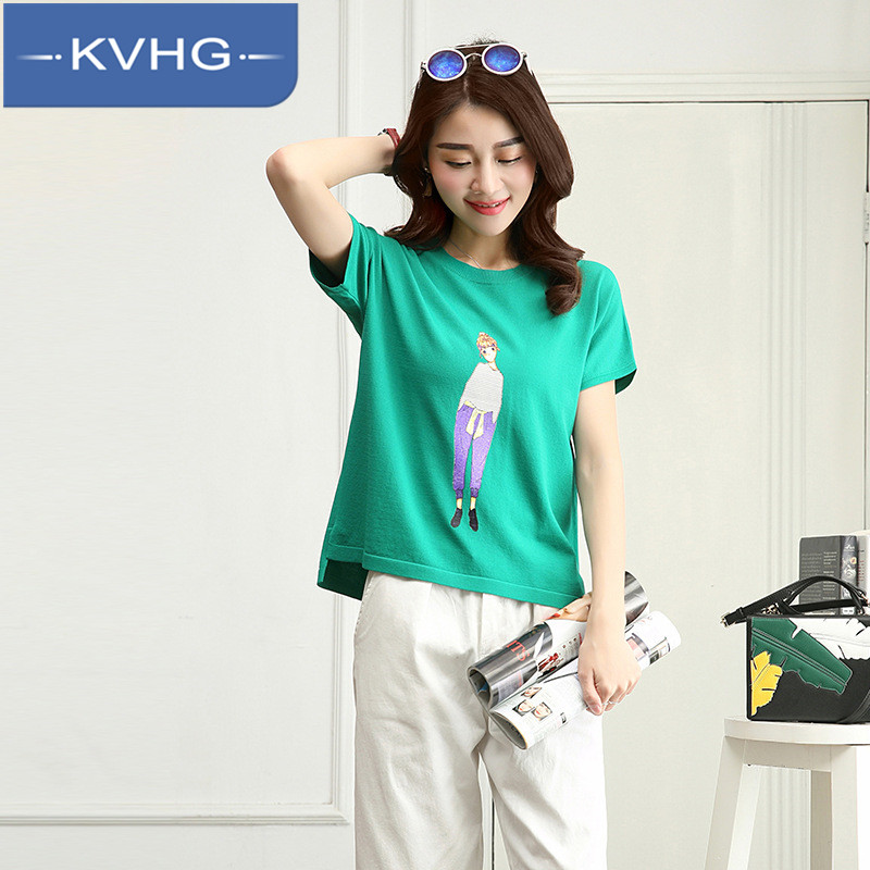 Korean version of the small fresh kvhg ladieswear 2016 summer fashion thin section loose and comfortable t-shirt hedging knit sweater 9805