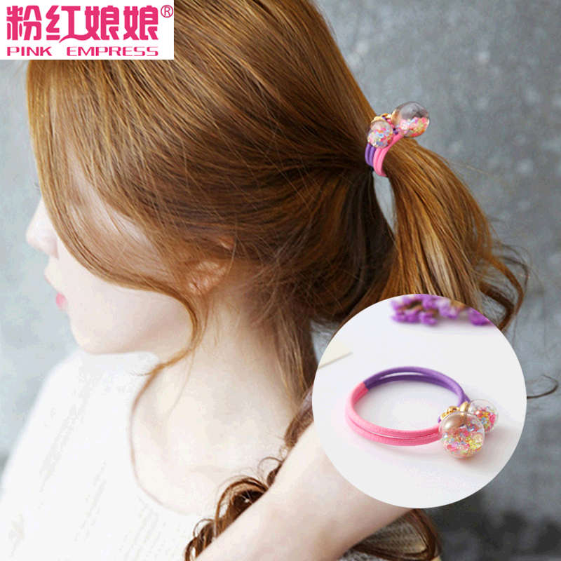 Korean version of the small jewelry hair ring tousheng hair accessories personalized crystal glass ball double strand double color rubber band hair rope headdress