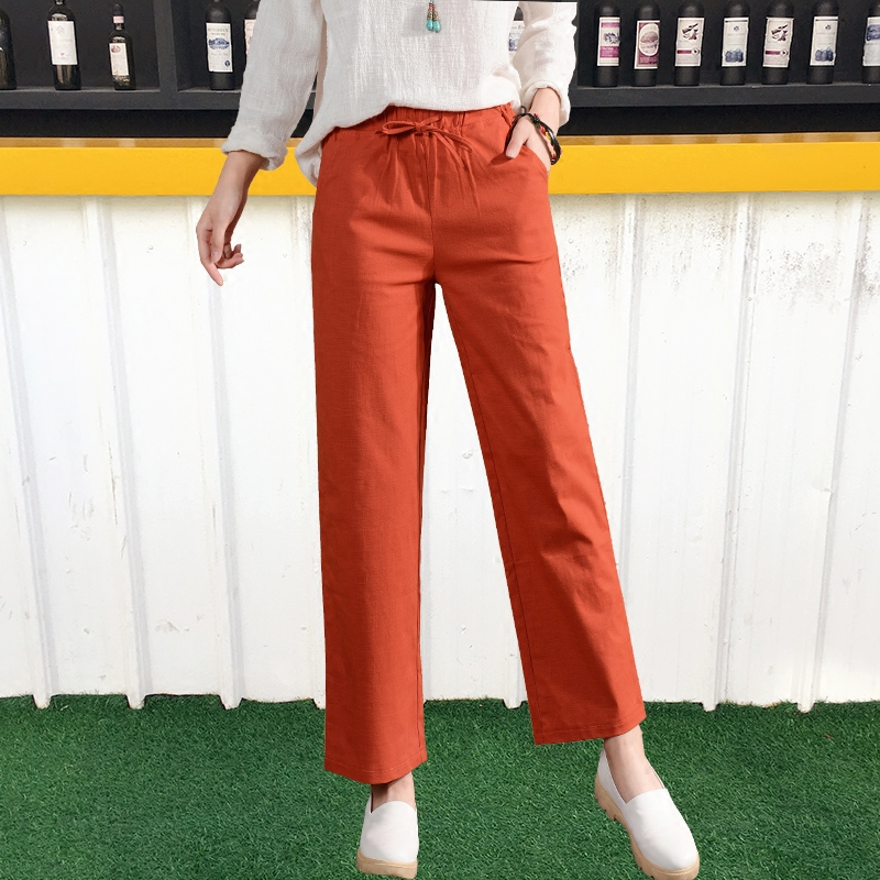 Korean version of the summer high waist cotton casual pants pantyhose wild loose straight pants casual pants nine points pants wide leg pants large size women