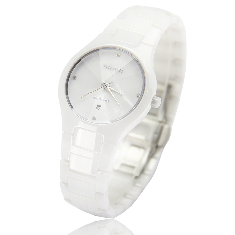 Korean version of the thin genuine waterproof ceramic diamond ladies watch white female form minimalist retro personality counters shipping