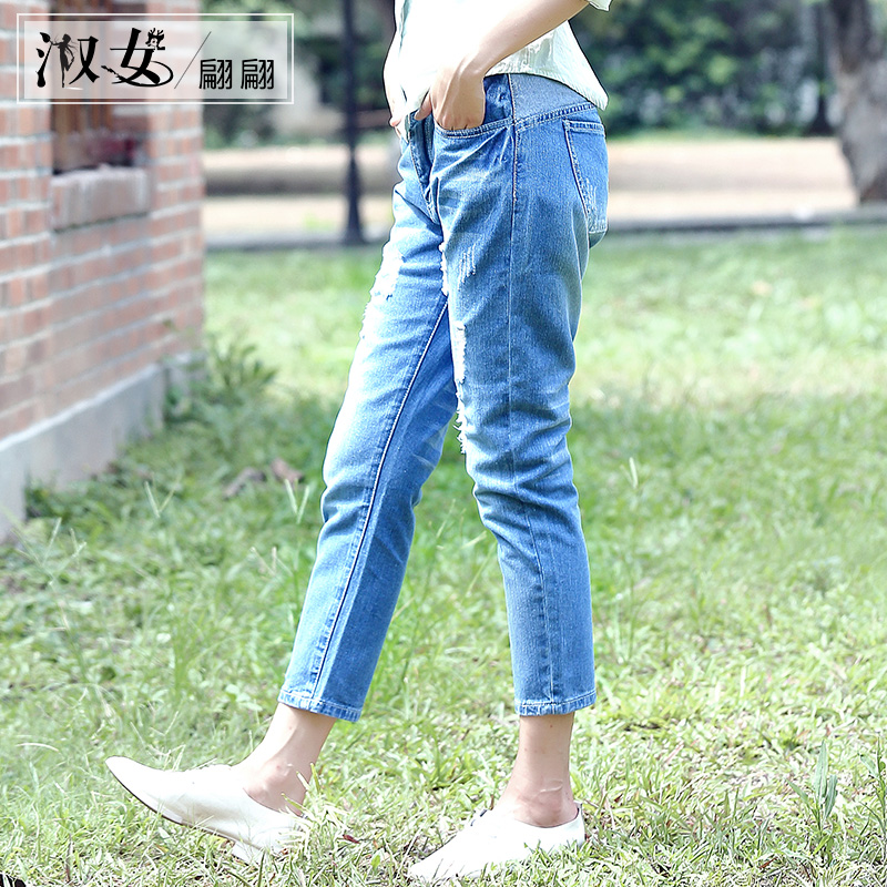 Korean version of the waist hole jeans female summer was thin pantyhose caught grain washed jeans bf loose pants feet students Thin section