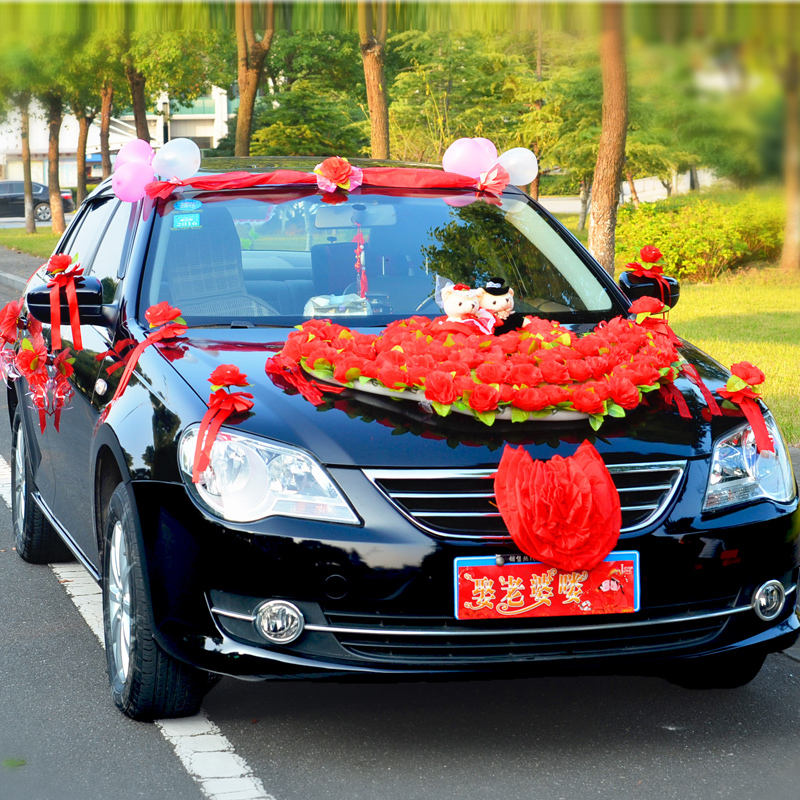 Korean wedding supplies artificial flowers wedding car decoration kit front decorative flower arrangement samelitter props
