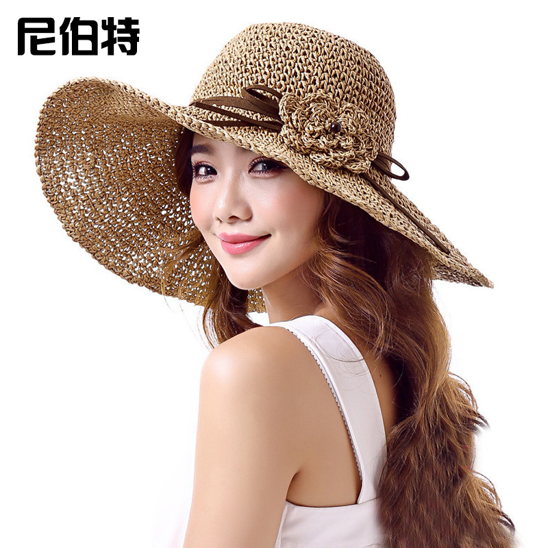 61b5a429a86 Get Quotations · Korean women summer hats woven straw hat sun hat sun hat  large brimmed sun hat summer