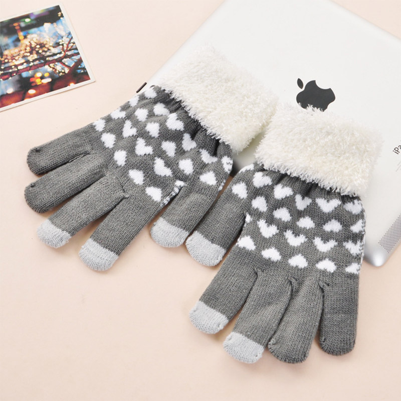 Korpi korean version of the influx of female autumn and winter warm wool gloves lovely peach heart wool mouth magic points finger gloves 0241