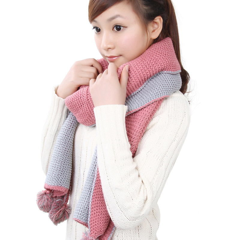 Korpi korean version of the influx of female thick wool scarves scarf long autumn and winter days warm and lovely pink tin park 0101