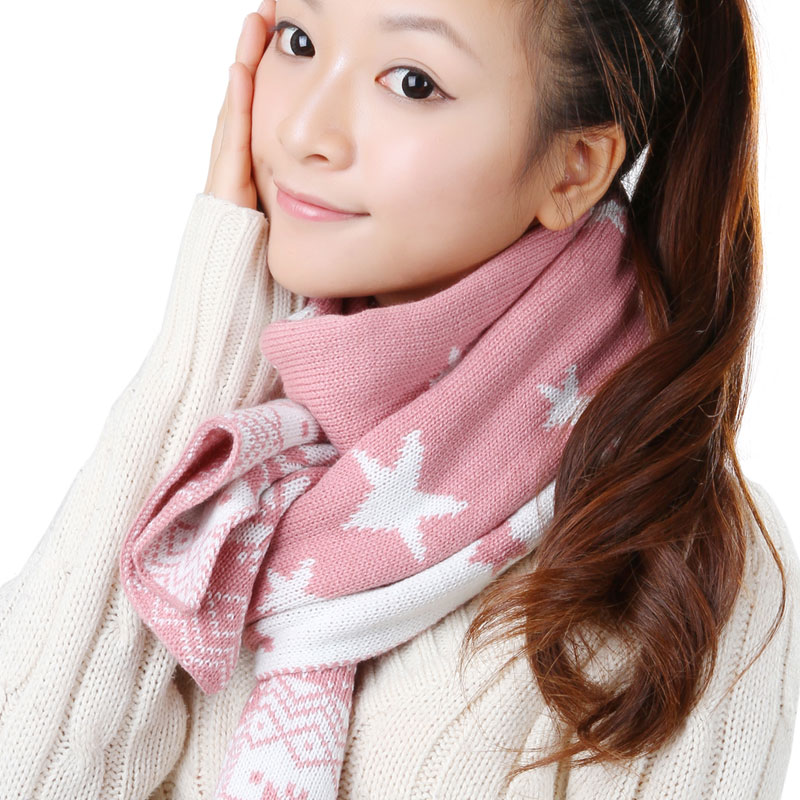 Korpi korean version of the influx of new pink wool scarf female autumn and winter days warm thick section spell color long scarf 0213